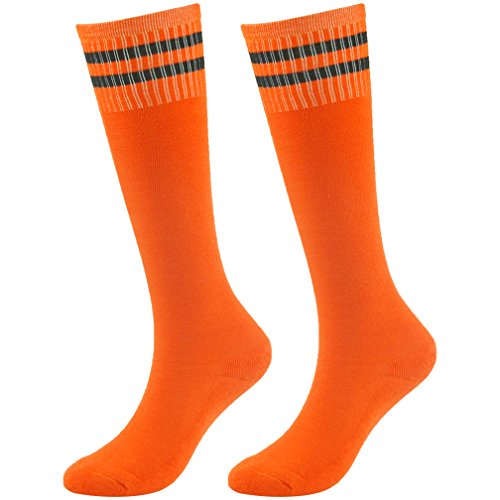 Youth Baseball Socks Girls Socks Novelty Fancy Design Striped Soccer Rugby Tube Socks Fasoar 2 Pairs Orange (Sock Design Kids)