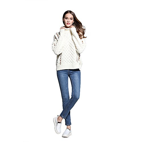 Philip-Womens-Turtleneck-white-Hemp-Flowers-Knitted-Pullover-Sweaters