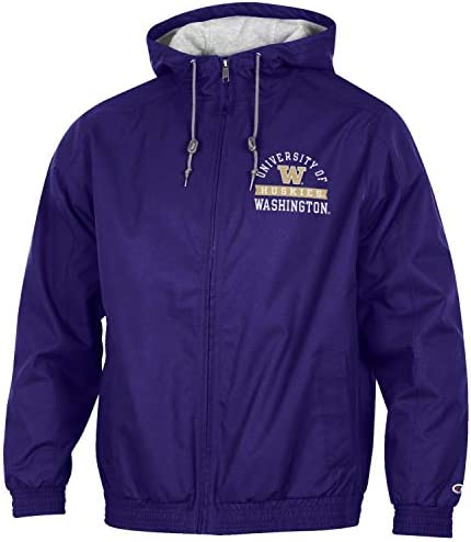 Champion NCAA Mens Half Zip Front Pocket Packable Jacket Washington Huskies XX-Large