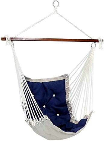 Sunnydaze Tufted Victorian Hammock Chair Swing – Large Hanging Chair Seat for Backyard Patio – Sturdy 300 Pound Capacity – Navy Blue