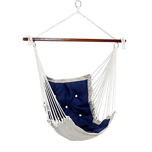 Sunnydaze Tufted Victorian Hammock Chair Swing, Indoor or Outdoor Hanging Seat, Sturdy 300 Pound Weight Capacity, Navy Blue ()