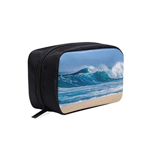 Big Breaking Ocean Wave On A Beach Portable Travel Makeup Cosmetic Bags Organizer Multifunction Case Small Toiletry Bags For Women And Men Brushes Case