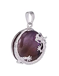 Jili Online 30mm Alloy Dragon Inset Stone Gemstone Crystal Charm Pendants for Necklace Chain Jewelry Findings