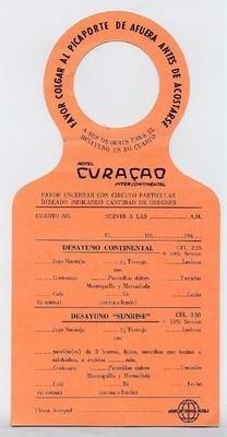 Hotel Curacao International Door Hanger Breakfast Menu 1950\u0027s