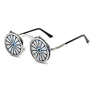 LOMOL Steampunk Retro Fashion Metal Frame UV Pritection Anti-Dazzle Round Flip Sunglasses(C1)