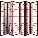 Legacy Decor 6-Panel Japanese Oriental Style Room Screen Divider Cherry Color