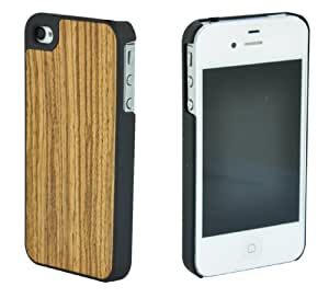 SunSmart Real natural wood case for Apple iPhone 4/4S-Genuine wood bamboo Backing Shell Case Cover with Durable Plastic Edges