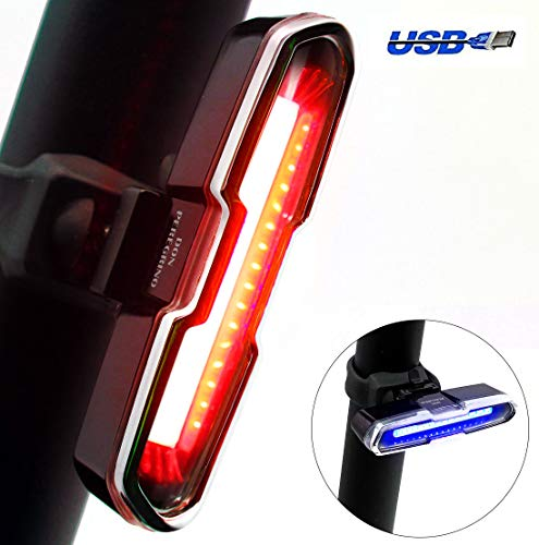 DON PEREGRINO B2 Powerful Bike Tail Light Red/Blue USB Rechargeable - High Brightness LED Bicycle Light for Cycling Safety