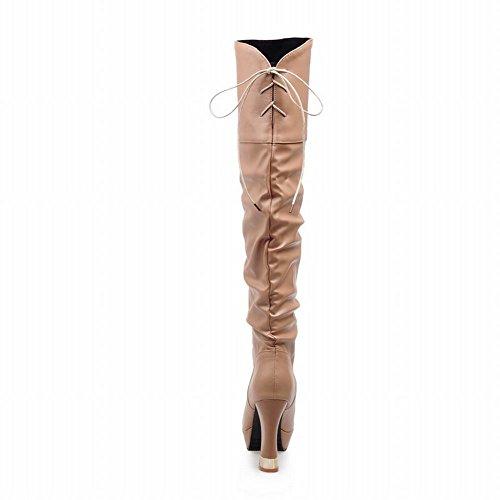 Latasa Mujer's Fashion Plisado Con Cordones De Tacón Alto Botines De Rodilla De Color Marrón Amarillento
