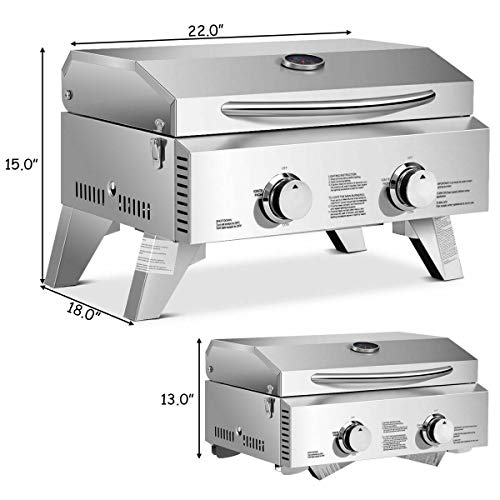 (ANA Store Field Light Propane Double Cooker Stainless Steel BBQ Table Top Gas Grill 2 Burner Folding Portable Inside Outside Yard Picnic Camping)