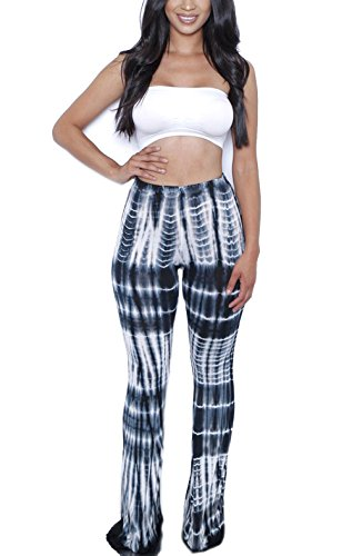 ZIKKER Women's Two-Piece Romper Sexy Tie Dye Print Bandeau Top Flared Bell Bottom Pants Jumpsuits Outfits Skeleton Medium]()