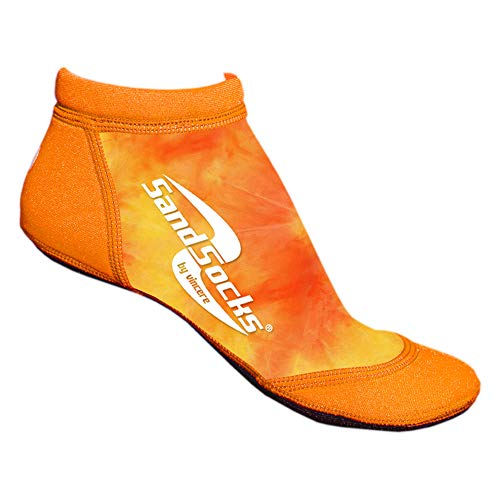 Sand Socks Vincere Low Cut Sprites Beach Volleyball Soccer Running Men's Women's (Orange Sunset, x-Small) (Best Female Beach Volleyball Players)