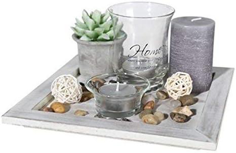 ReWu Tischdeko Decor Teller Wohnzimmer Dekoration mit Home Deko Aufschrift  mit Kerzen und Teelichtern im Vintage Look