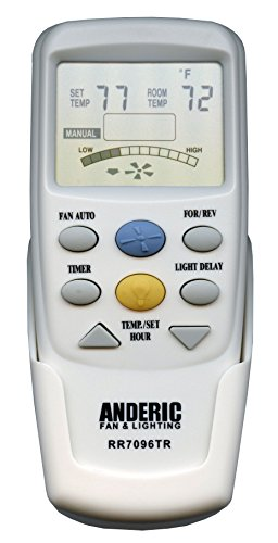 Anderic Replacement for Hampton Bay CHQ7096T with Reverse key Thermostatic Remote Control for Hampton Bay Ceiling Fans (FCC ID: CHQ7096T, UC7096T, CHQ8BF7096T, CHQ8BT7096T) - RR7096TR (Inch Fan 54 Ceiling Breeze)