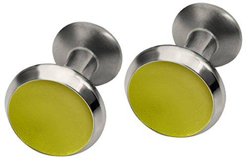 Ti2 Titanium Mens Round Concave Cufflinks - Lemon ()