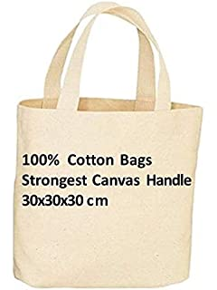 5e9fbeaa3 Pack of 10 Premium Quality Long Lasting 100% Cotton Canvas Tote Reusable  Shopping…