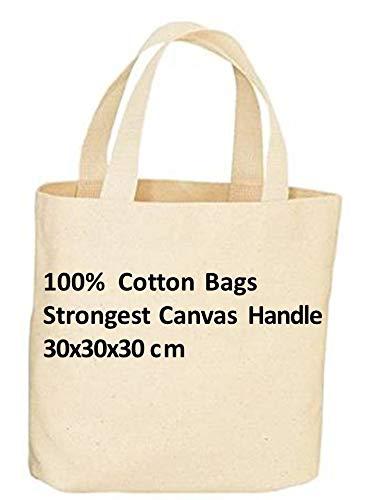 Pack de 10 bolsas de la compra reutilizables de lona de alta calidad con asa larga y larga duración, 100% algodón. Color natural ideal para impresión ...