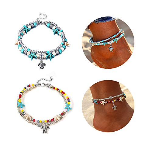 Eivanc 2Pc Turtle Multilayer Metal Anklet Crystal Shell Adjustable Turtle Tassel Tree of Life Anklet Beads Sea Handmade Layered Boho Anklet Foot Jewelry Gold Chain Anklet Heart Beach Anklet for Women
