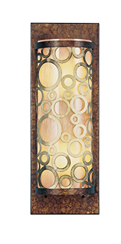 Livex Lighting 8684-64 Wall Sconce with Gold Dusted Art Glass Shades, Palatial Bronze with Gilded Accents