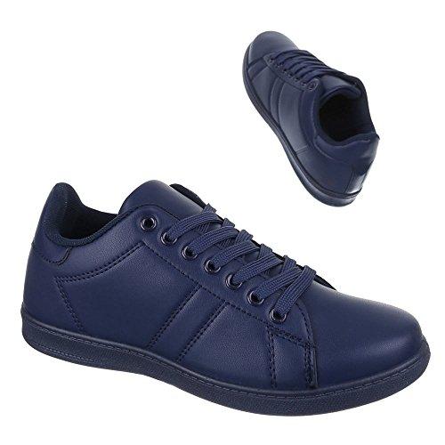 Chaussures Femmes-design Italien Casual Sneakers Bas Zy001 Bleu