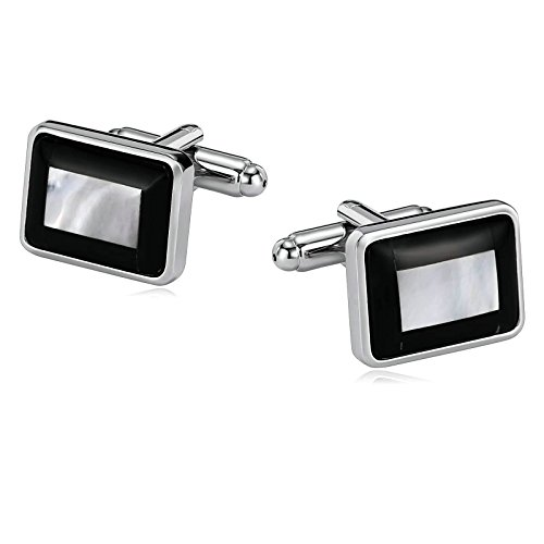Aooaz Mens Stainless Steel Cufflinks Grooved Rectangle Black White Business Wedding Shirt 1.8x1.4cm