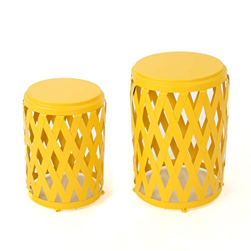 GDF Studio Ellen Nestable Outdoor Small and Large Iron Side Table Set (Set of 2) (Matte Yellow)