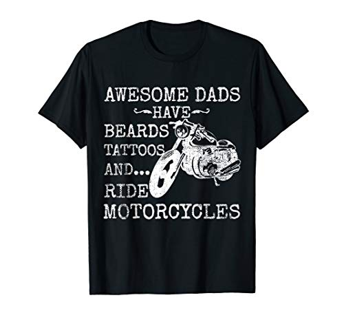 Funny Beard Shirt Awesome Dad Beard Tattoos and Motorcycles (Beards Shirts For Women)
