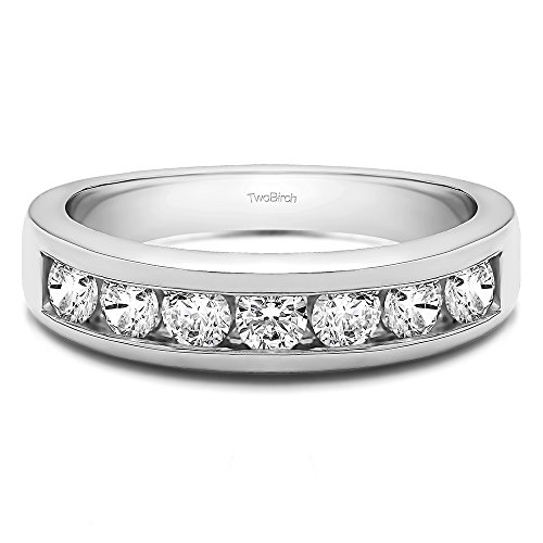 TwoBirch 0.35Ct Seven Stone Channel Set Wedding ring in Platinum White Sapphire(Size 3 to 15 in 1/4 Sizes)