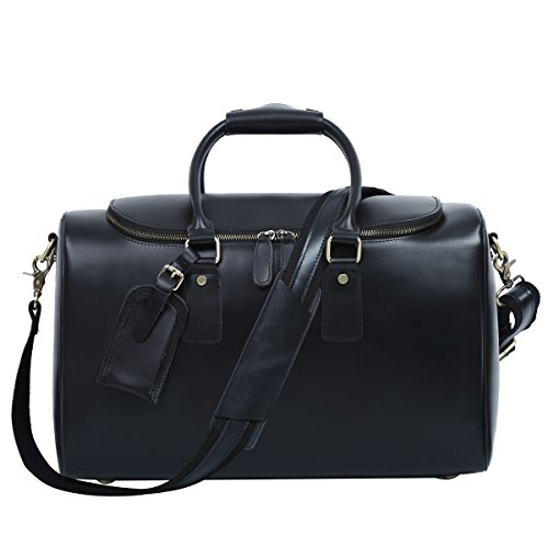 Leathario Mens Genuine Leather Overnight Travel Luggage Carry On Airplane Duffle Overnight Weekender Bag Black by Leathario