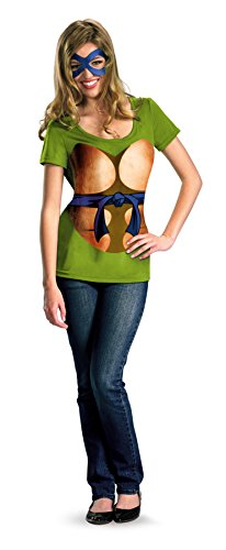 UHC Tmnt Leonardo Teen Ladies T-Shirt And Eye Mask Alternative Halloween Costume, Teen (7-9) ()