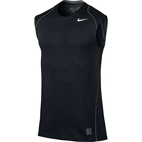 Nike Pro Men's Sleeveless Training Shirt, Black/Dark Grey/White, Medium