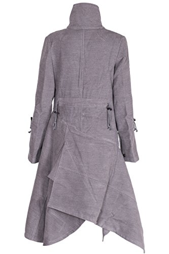 Damen Militär Stil Tailliert Jacke Winter Graben Knopf Mantel Grau