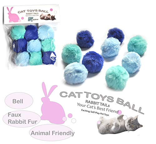 - BALLMIE Cat Toys Ball Furry Ball with Rattle Bell Catnip for Cats Easter Gift (Blue (with Bell))