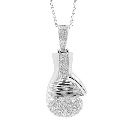 1.66ct Diamond Boxing Glove Mens Hip Hop Pendant Necklace in 925 Silver by Isha Luxe-Hip Hop Bling