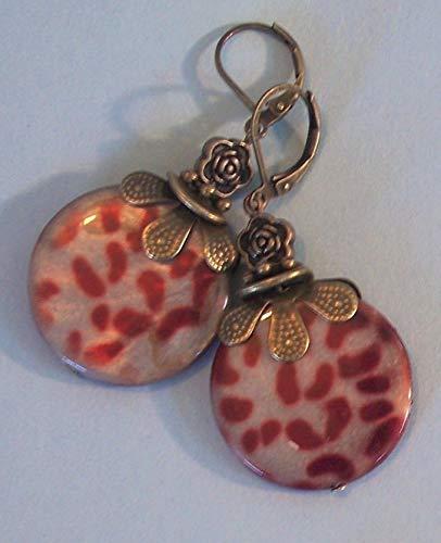 - Burgundy Grey Mop Leopard Earring Bronze Leverback Artisan Earrings For Women Set