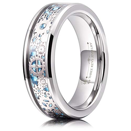 - THREE KEYS JEWELRY 6mm Tungsten Rings Silver Punk Seal Gear Mechanical Light Blue Carbon Fiber with Metal Foil Inlay Wedding Bands for Men Size 8.5