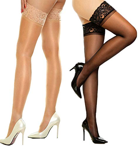 MERYLURE 2 Pairs Sheer Lace Thigh High Stockings Silicone Hold Up Nylon Pantyhose (C/D, 1 Pair Black&1 Pair Nude)