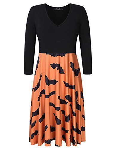 AMZ PLUS Women Plus Size Halloween Dress 3/4 Sleeve Swing Party Casual Dresses Orange 4XL