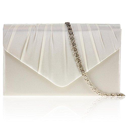 et Pochette pour Bal Satin Cassé plissé Zarla de UK strass Bags mariage pour Ivoire Blanc femme en soirée wSXq0avF0