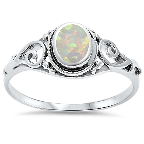 Oxford Diamond Co .925 Sterling Silver Lab Created Opal Antique Filigree Braided Ring Sizes ()