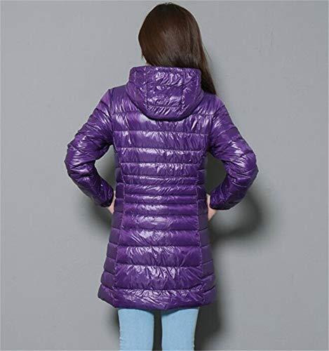Inverno Donna Dimensioni Giacca Sottile Moda Lungo Grandi Cappuccio D'oca 75 Con Piuma Loozo Purple qvn5E7wE