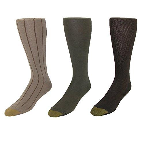 Gold Toe Men's Over the Calf Moisture Control Fashion Socks (Pack of 3), Pack E