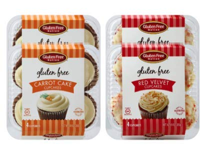 Gluten Free Cupcakes with Real Cream Cheese Frosting by Gluten Free Nation - Red Velvet and Carrot Cake Variety Pack 16 Count (Red Velvet Cupcakes With Cream Cheese Frosting)