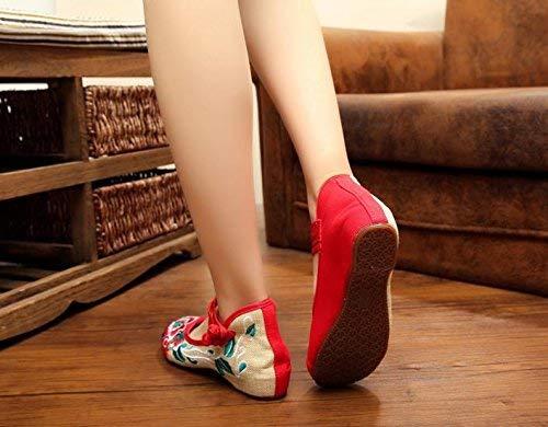 Ballo A Comode 36 Da Femminili Dimensione Moda colore Stile Rosse Stoffa Ricamate Tendine Suola Fuxitoggo Etnico Scarpe Di twRBqwZO
