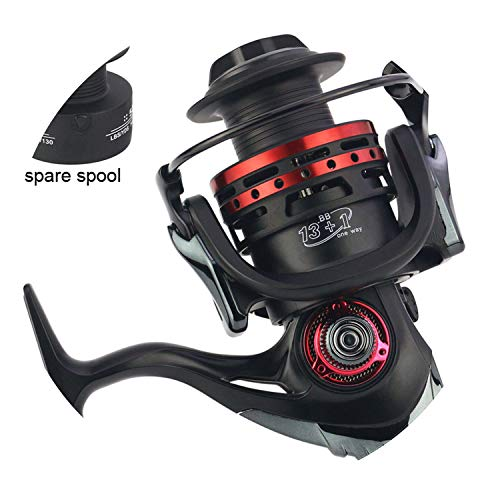 Fashion-Lover Metal Fishing Reel Spinning Reel 1000-7000 Bait Casting 13+1Bb with Spare Spool Saltwater Reel Drag 18Kg,14,2000 Series