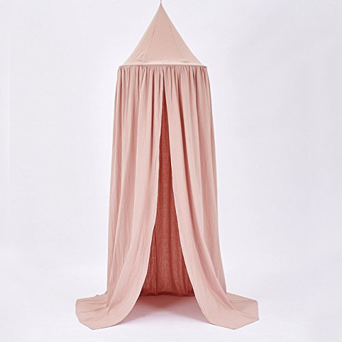 GFHGF Cotton baby room decoration Balls Mosquito Net Kids bed curtain canopy Round Crib Netting tent photography props (Canopy Cotton Crib)