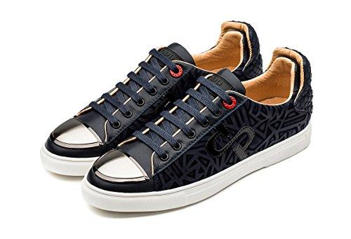 OPP Hombres Casual Zapatos de Piel Cuero Sneakers Azul