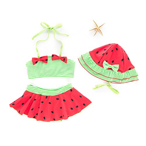 ARSTART Baby Girls Cute Watermelon Tankini Swimsuits Two-Pieces Halter Bottom Bathing Suits with Hat Bikini Swimsuits