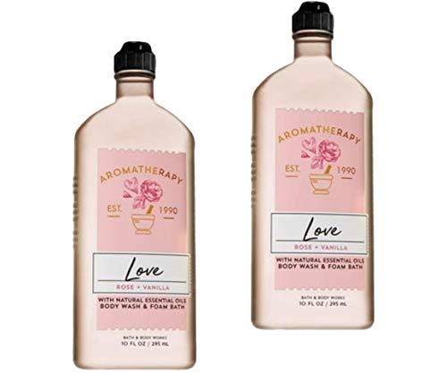 (Bath & Body Works 2 Pack Aromatherapy Love , Rose & Vanilla Shower Gel 10 Oz)