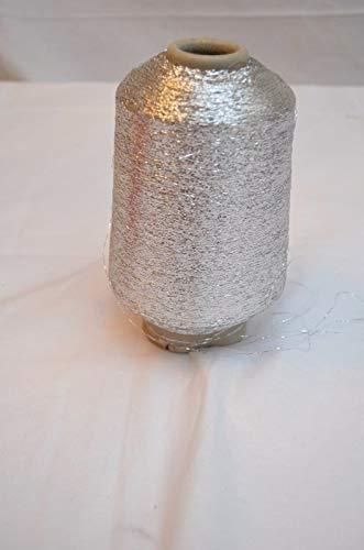 (Lurex, sparkle yarn, 1 ply, metallic yarn, strass, lace glitter yarn, silver, 7500 meters, per 100 gram cone)